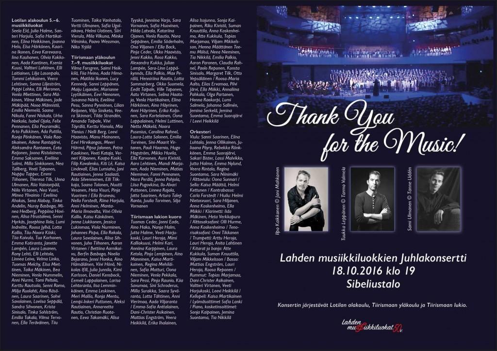 Lahden musiikkiluokkien Thank You for the Music! -viihdekonsertin ohjelma