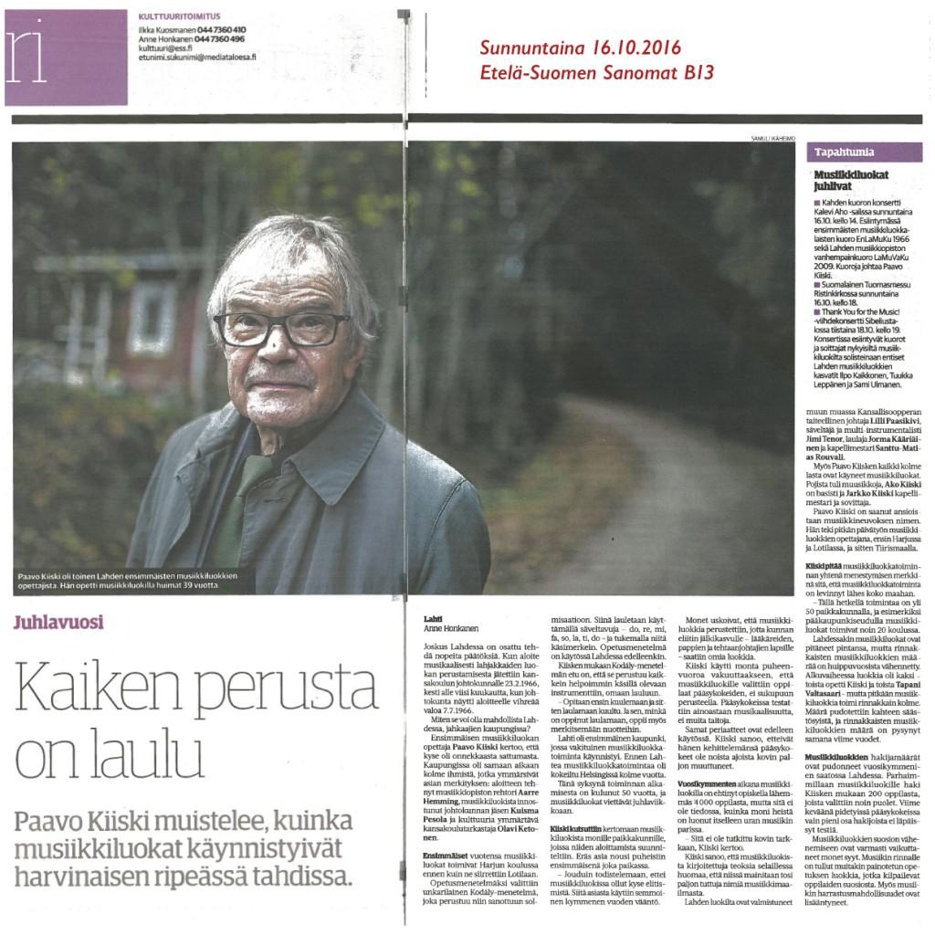 16.10.2016 Etelä-Suomen Sanomien Kulttuuri-osastolla